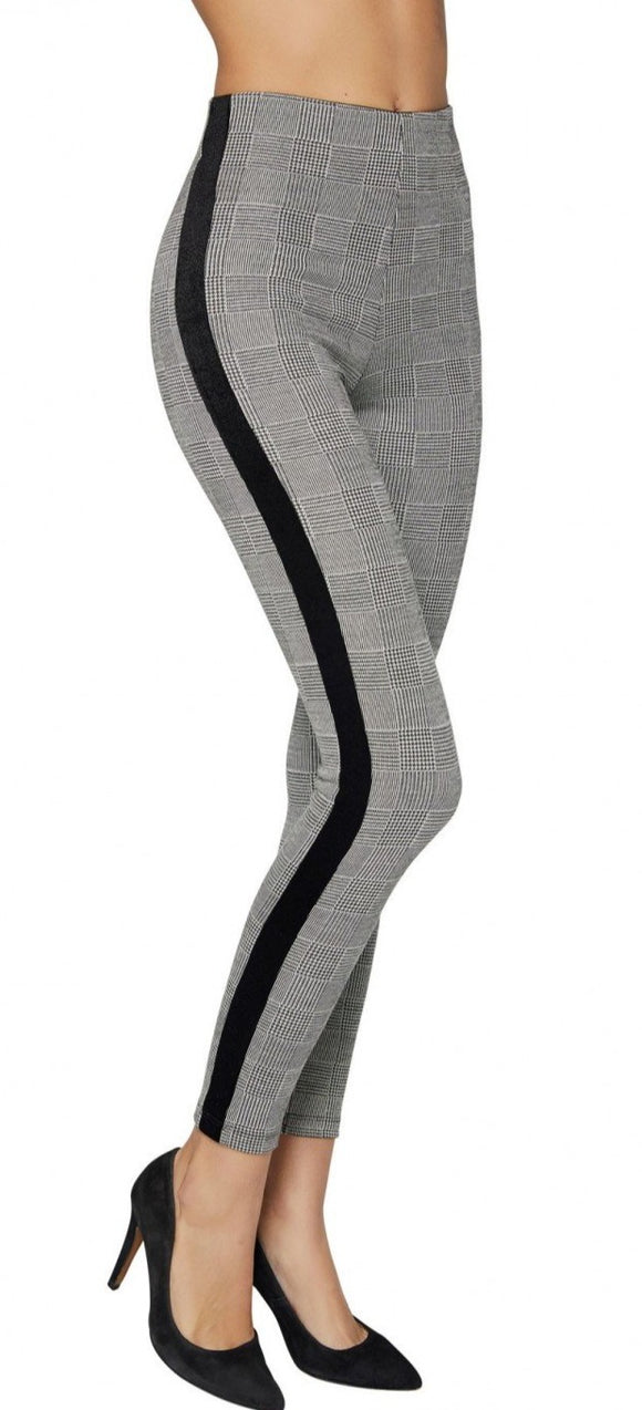 Ysabel mora 70241 Check Leggings - grey Prince of Wales tartan trouser leggings with a black velvet sports style side stripe