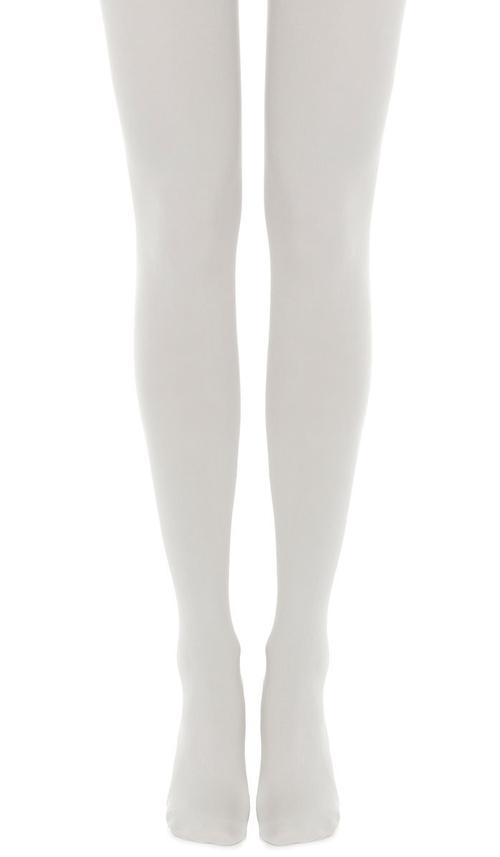 Zohara Solid Cream Tights - 120 denier ultra opaque matte tights with flat seams and gusset.