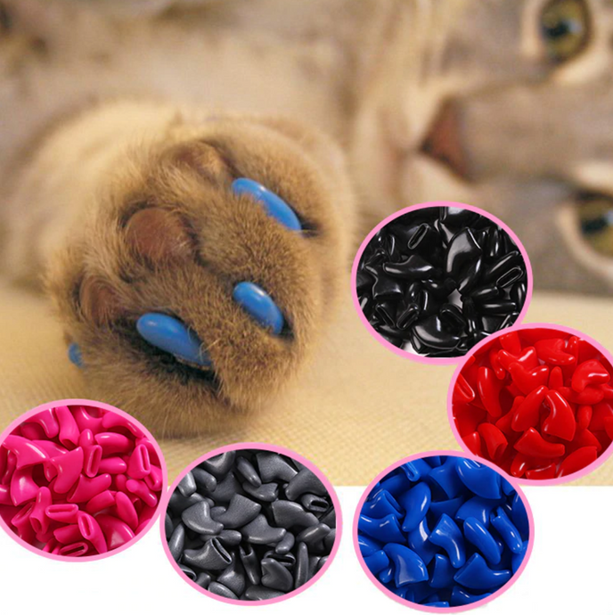 20 Pcs - Colorful Soft Rubber Cat Kitten Nail Caps + Adhesive Glue