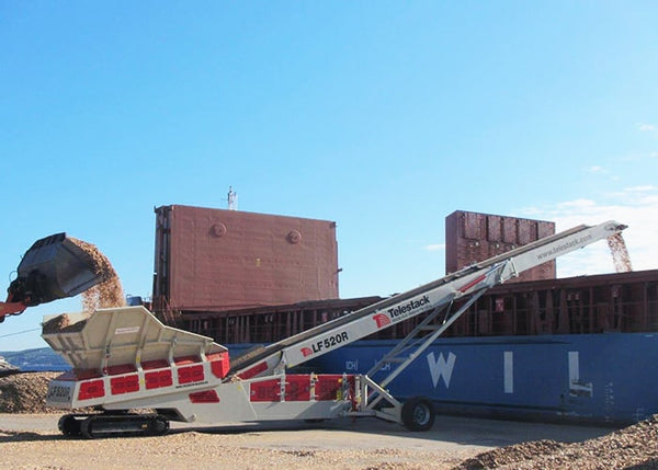 Low Feeder Stockpiler - Telestack LF 520R Radial Low Feed Conveyor - Tricon Mining Equipment
