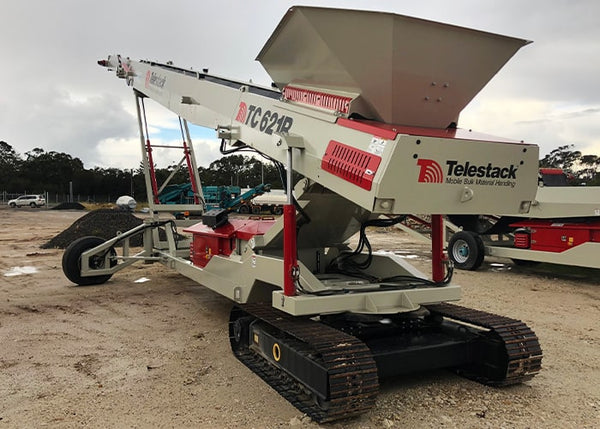 Tracked Stockpile Conveyor - Telestack TC-621R Mobile Stacker Radial Stockpile Conveyor - Tricon Equipment