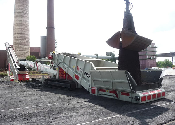 Truck Unloader Conveyor - Telestack TU-515R Mobile Drive Over Truck Unloader Conveyor - Tricon Equipment
