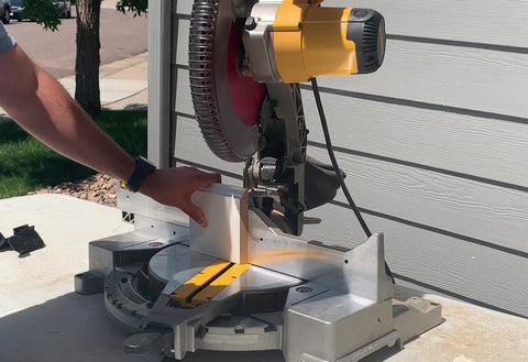 Line up your mark to the miter saw blade for a reference