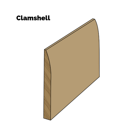 Three of four different baseboard looks - single-piece clamshell profiled trim.
