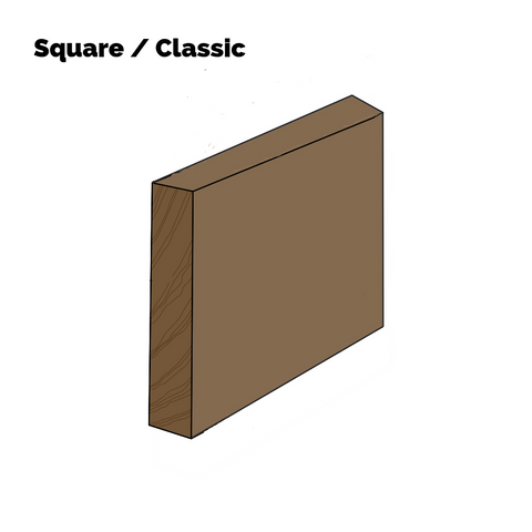 Four of four different baseboard looks - single-piece square or classic trim.