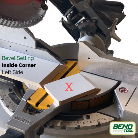 How to cut a corner baseboards - DeWalt Compound Miter Saw cutting baseboard with bevel, inside corner on the left side