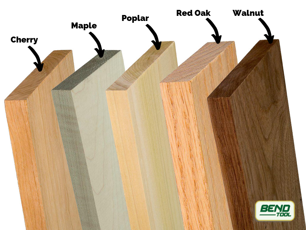 Each of the common woods for baseboards – Cherry, Maple, Poplar, Red Oak, Walnut. Each wood offers its own look and grain style.