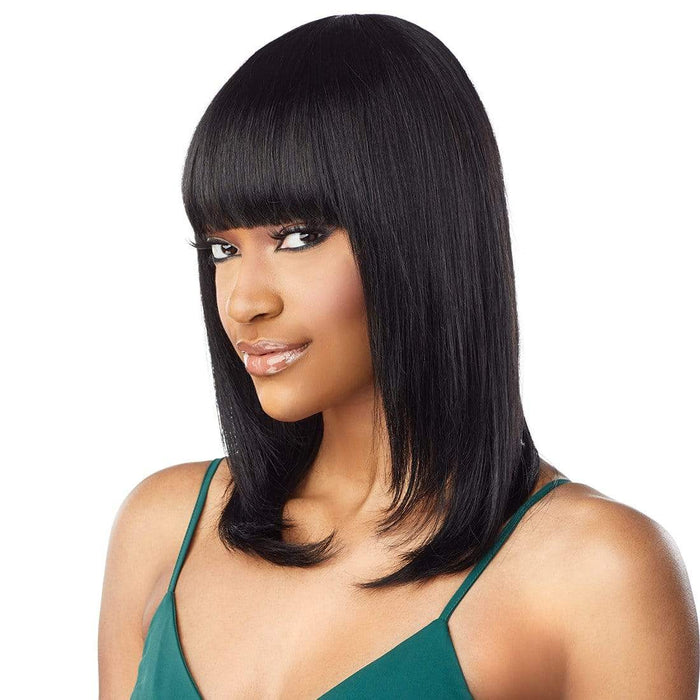 10A STRAIGHT 18 INCH - Sensationnel 100% Virgin Human Hair Full Wig  - Hair to Beauty | Color Shown : NATURAL BLACK