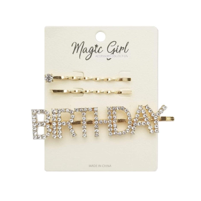 MAGIC | BIRTHDAY Colorful Rhinestone Hair Pin 3PCS - Hair to Beauty