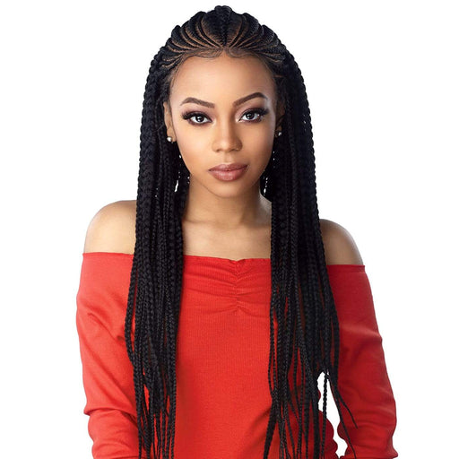 FEED IN FULANI CORNROW | Sensationnel Cloud 9 Hand Braided 13x7 Part Swiss Synthetic Lace Front Wig - Hair to Beauty | Color Shown: 1