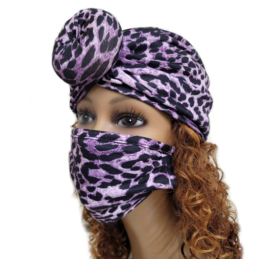 BE U | Turban and Face Mask Set Leopard.