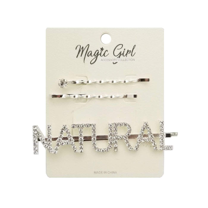 MAGIC | NATURAL Rhinestone Hair Pin 3PCS - SILVER
