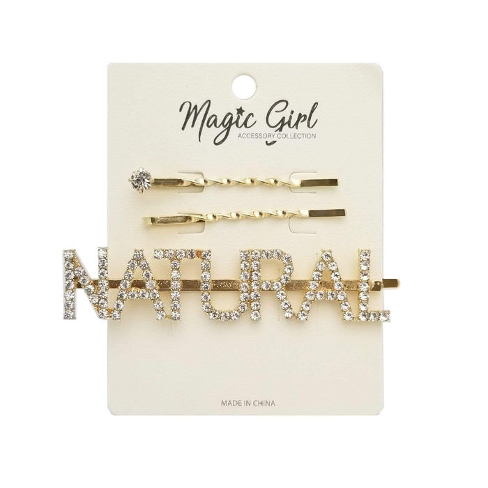 MAGIC | NATURAL Rhinestone Hair Pin 3PCS - GOLD
