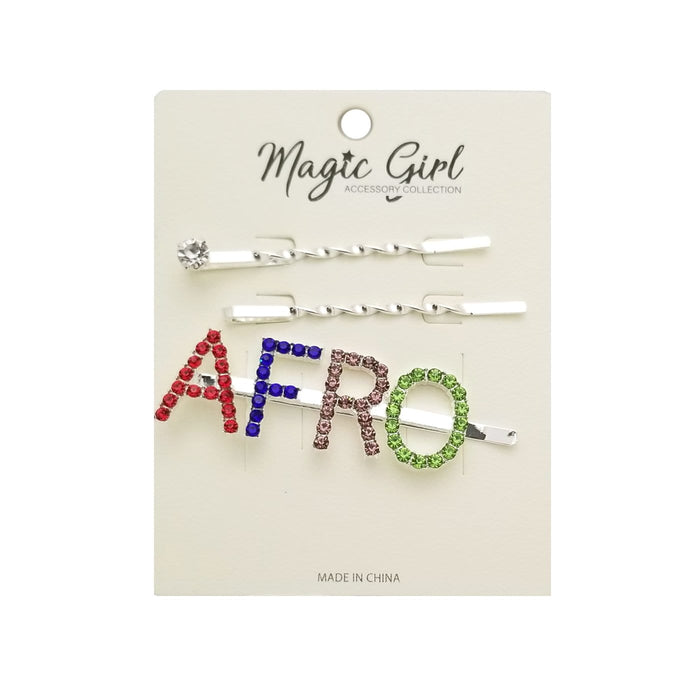 MAGIC | AFRO Colorful Rhinestone Hair Pin 3PCS - Hair to Beauty