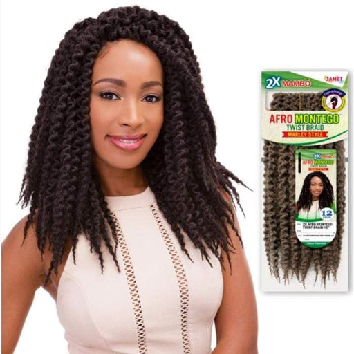 2X AFRO MONTEGO TWIST BRAID 12 INCH | Janet Collection Synthetic Braid - Hair to Beauty | Color Shown: 4