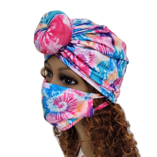 BE U | Turban and Face Mask Set Tie-Dyed.