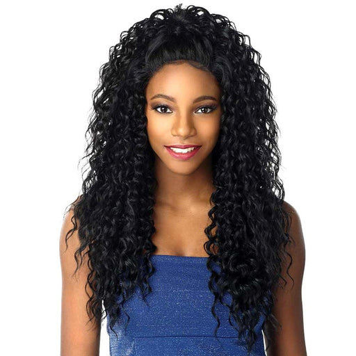 3 WAY MOON PART CURLY 18″ 20″ 22″ | Sensationnel Shear Muse Synthetic Weave Bundle - Hair to Beauty | Color Shown : 1B