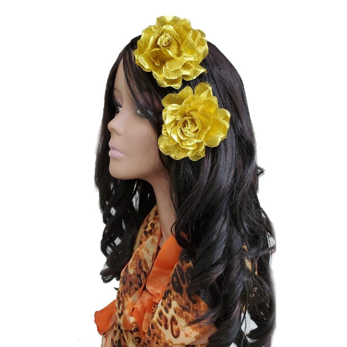 "BE U | 3"" Artificial Flowers Hair Pin 2PCS Gold."