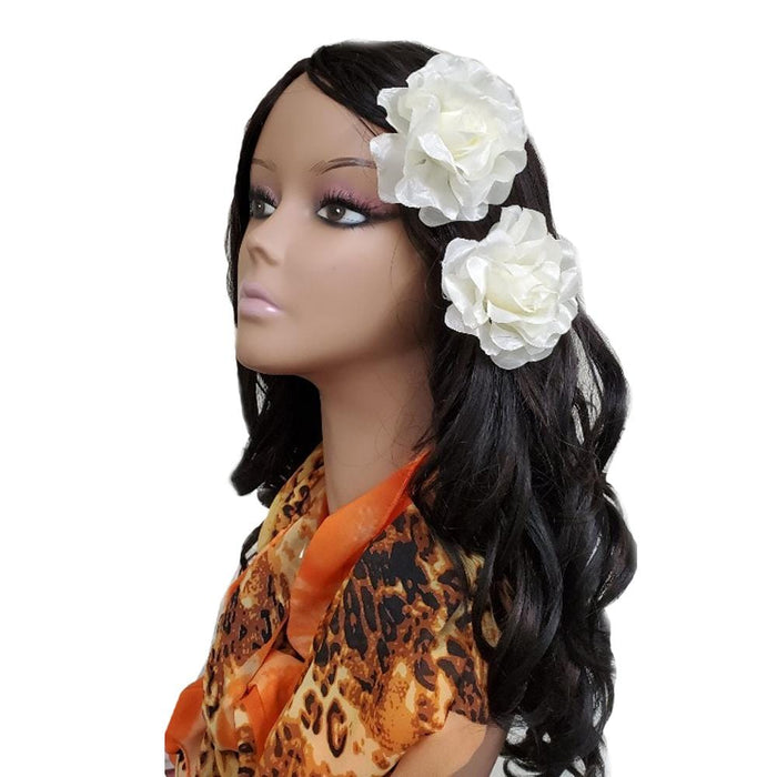 "BE U | 3"" Artificial Flowers Hair Pin 2PCS Ivory."
