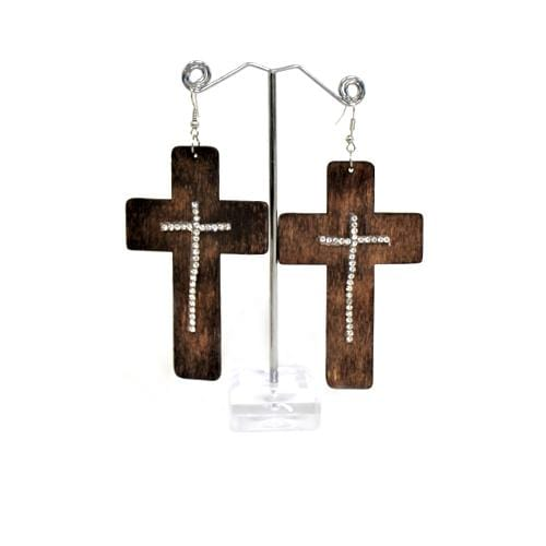 E0850 | Dark Brown Wooden Cross Earring with Rhinestones - Hair to Beauty