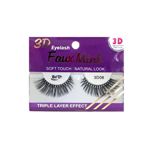 BE U | 3D Faux Mink Eyelashes 3D08 - Hair to beauty