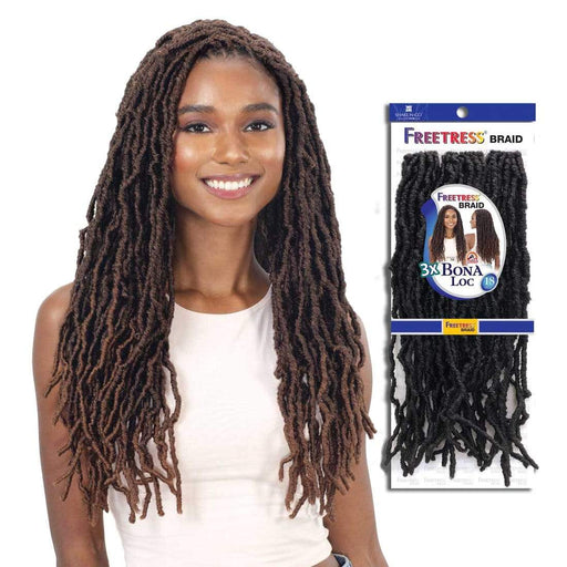 3X BONA LOC 18 INCH - Freetress Synthetic Braid - Hair to Beauty | Color Shown : T30