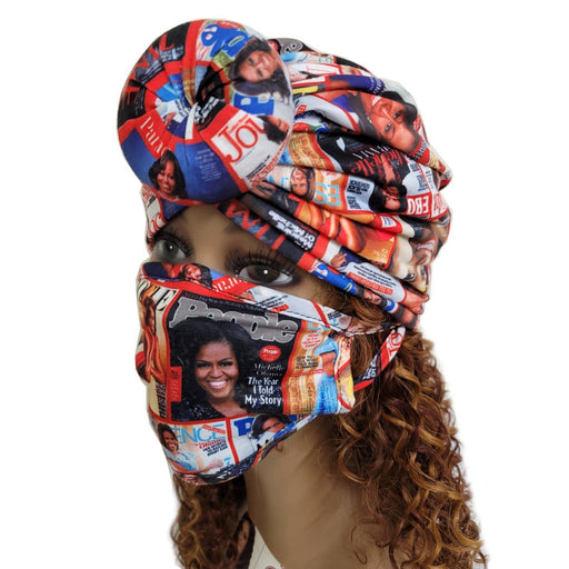 BE U | Turban and Face Mask Set Michelle Obama.