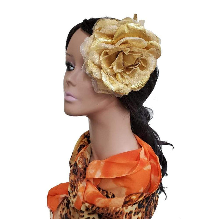 "MAGIC | 6"" Artificial Flowers Hair Pin Gold - Hair To Beauty"