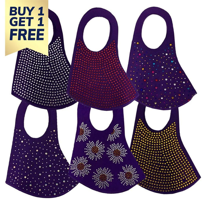 BE U | Purple Bling Rhinestone Face Mask - Buy 1 Get 1 Free.