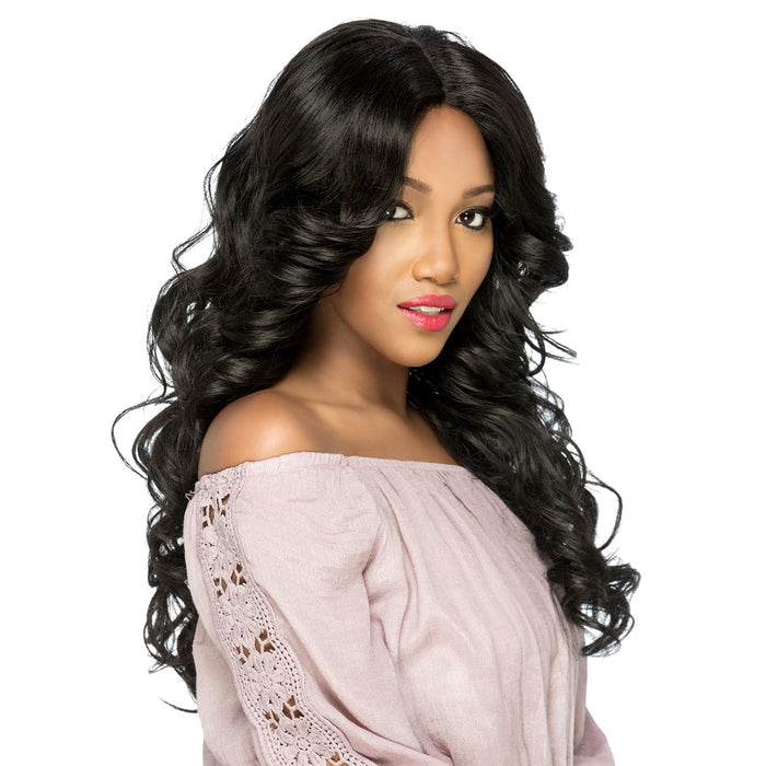 AL-GLEE | Amore Mio Synthetic Natural Baby Hair Invisible Part Swiss Lace Front Wig - Hair to Beauty | Color Shown: 1B