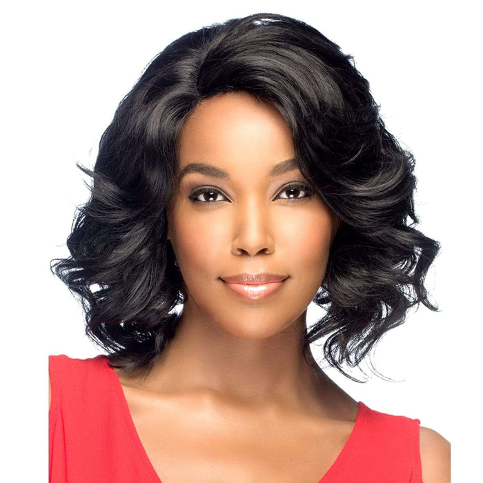 AL-TRUDY | Amore Mio Synthetic Natural Baby Hair Invisible Part Swiss Lace Front Wig - Hair to Beauty | Color Shown: 1B