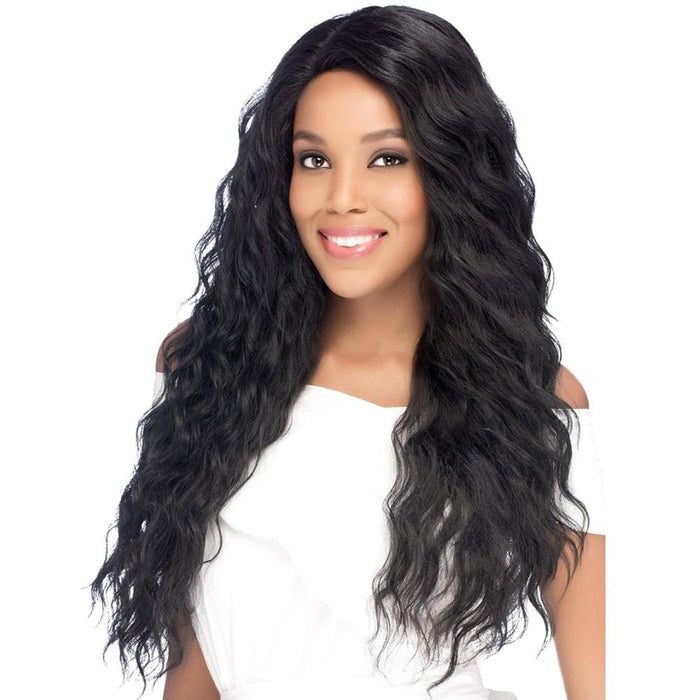 AL-YOANA | Amore Mio Synthetic Invisible Part Swiss Lace Front Wig - Hair to Beauty | Color Shown: 1B