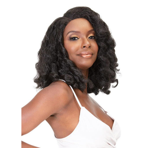 AMANI | Natural Me Human Hair Blend Swiss Lace Front Wig - Hair to Beauty | Color Shown: 1B