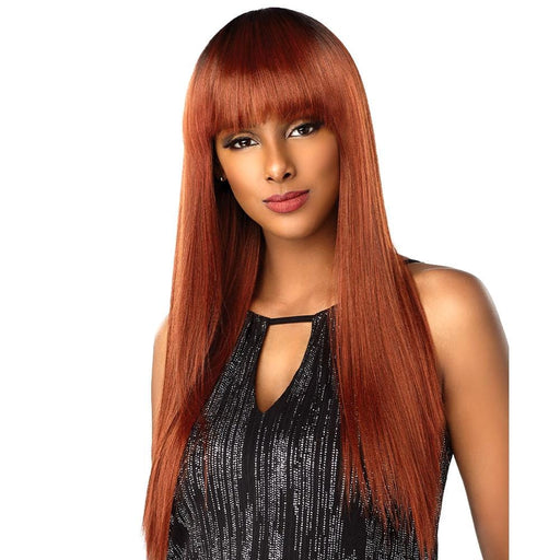 BANG TOP PIECE YAKI STRAIGHT 18″ 18″ 18″ | Sensationnel Shear Muse Synthetic Weave Bundle - Hair to Beauty | Color Shown : OM/AUBURN