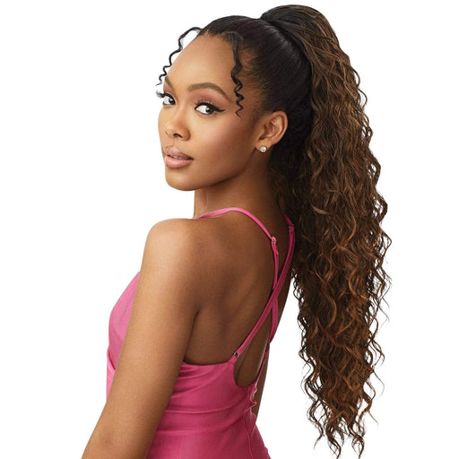 BEACH WAVE 28″ | Pretty Quick Synthetic Ponytail - Hair to Beauty | Color Shown : DR HAZELNUT BROWN