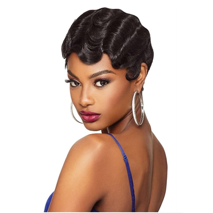 BETTY | Up Do U Quick Weave Synthetic Half Wig - Hair to Beauty | Color Shown: 1B
