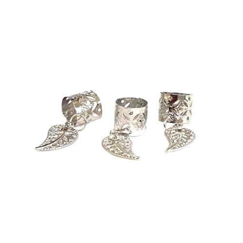 BF119 | Be U Silver Filigree Tube with Rhinestone Leaf Charm - Hair to Beauty