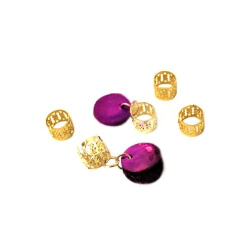 BF228 | Magic Gold Filigree Tube with Fuchsia Shell Disc Charm - Hair to Beauty