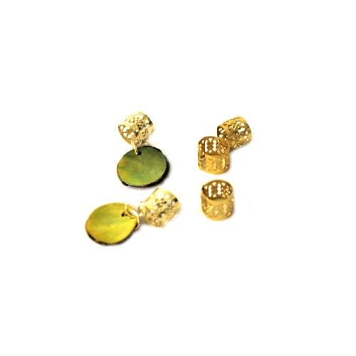 BF229 | Gold Filigree Tube with Yellow Shell Disc Charm.