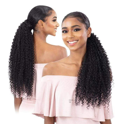 BOHEMIAN CURL 32 INCH - Shake N Go Organique Pony Pro Synthetic Ponytail  - Hair to Beauty | Color Shown : 1B