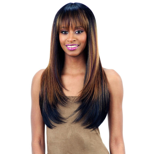 BRISA l FreeTress Synthetic Italian Lace Front Wig - Hair to Beauty l Color Shown: CMBROWNIE