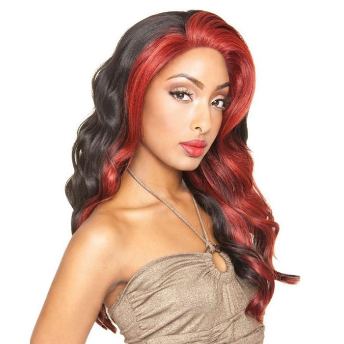 BS608 | Brown Sugar Silk Lace Human Hair Blend Lace Front Wig - Hair to Beauty | Color Shown :