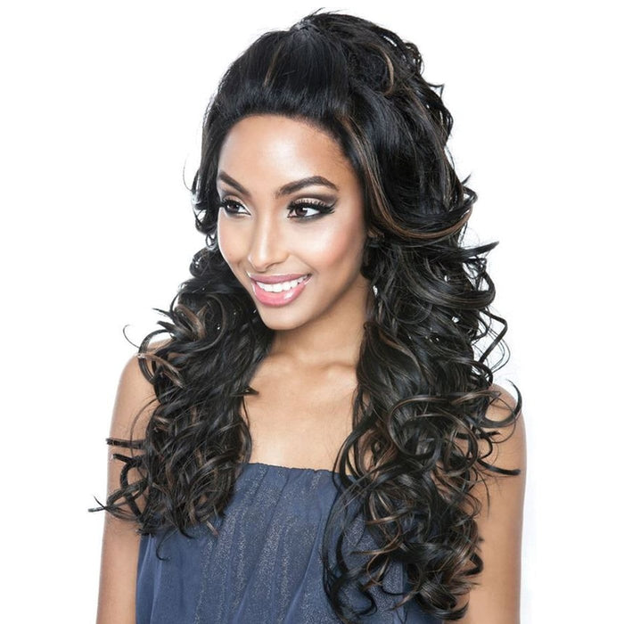 BSF04 | Human Hair Blend 13x4 Lace Frontal Wig - Hair to Beauty | Color Shown: P1B/30