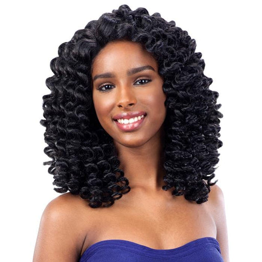 BUBBLE WAND l FreeTress Synthetic Deep Invisible L-Part Lace Front Wig - Hair to Beauty l Color Shown: 1B