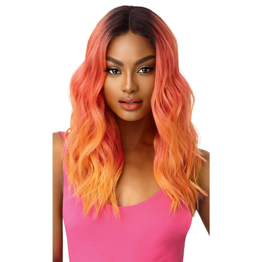 CELESTE | Outre Color Bomb Synthetic Swiss Lace Front Wig - Hair to Beauty | Color Shown: OM/Coral Flame