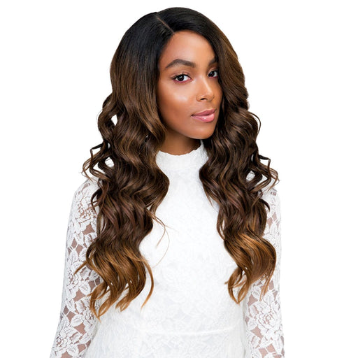 CHELSEA | Janet Collection Princess Human Hair Blend 4x4 Lace Frontal Wig - Hair to Beauty | Color Shown: SUGAR BROWN