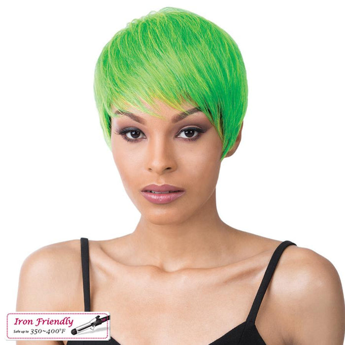 CHICAGO | It's a Wig! Synthetic Wig - Hair to Beauty | Color Shown: LIME GREEN