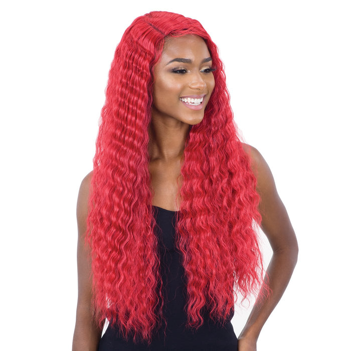 DEEP WAVER 002 | Synthetic Lace Front Wig - Hair to Beauty | Color Shown: CHERRY