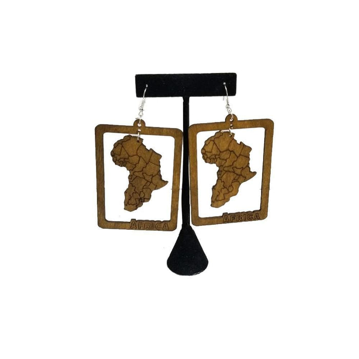 E1027 | Africa Map Earring Brown - Hair to Beauty