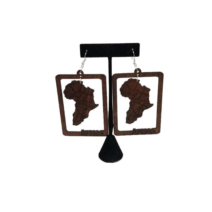 E1028 | Africa Map Earring Dark Brown - Hair to Beauty